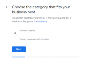 choose category of the business